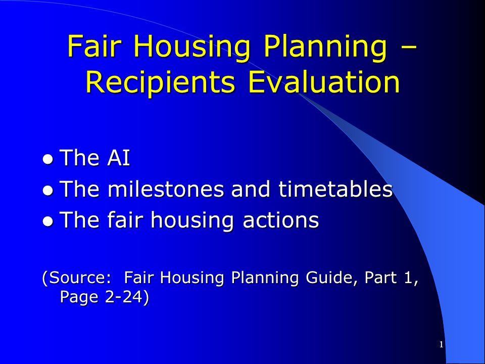 Fair Housing Planning – Recipients Evaluation