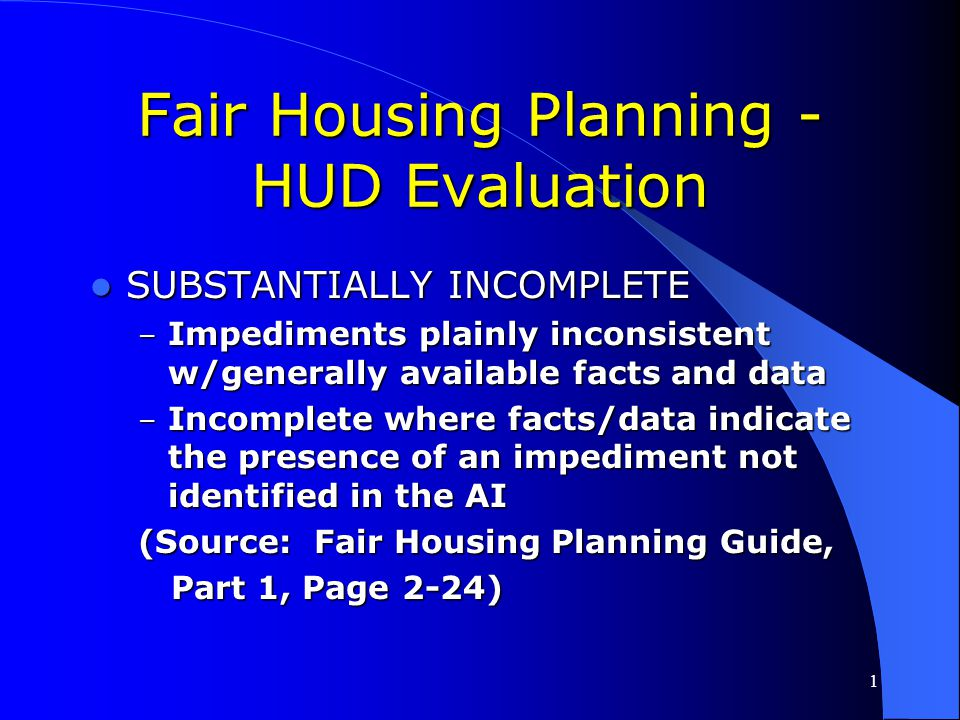 Fair Housing Planning - HUD Evaluation