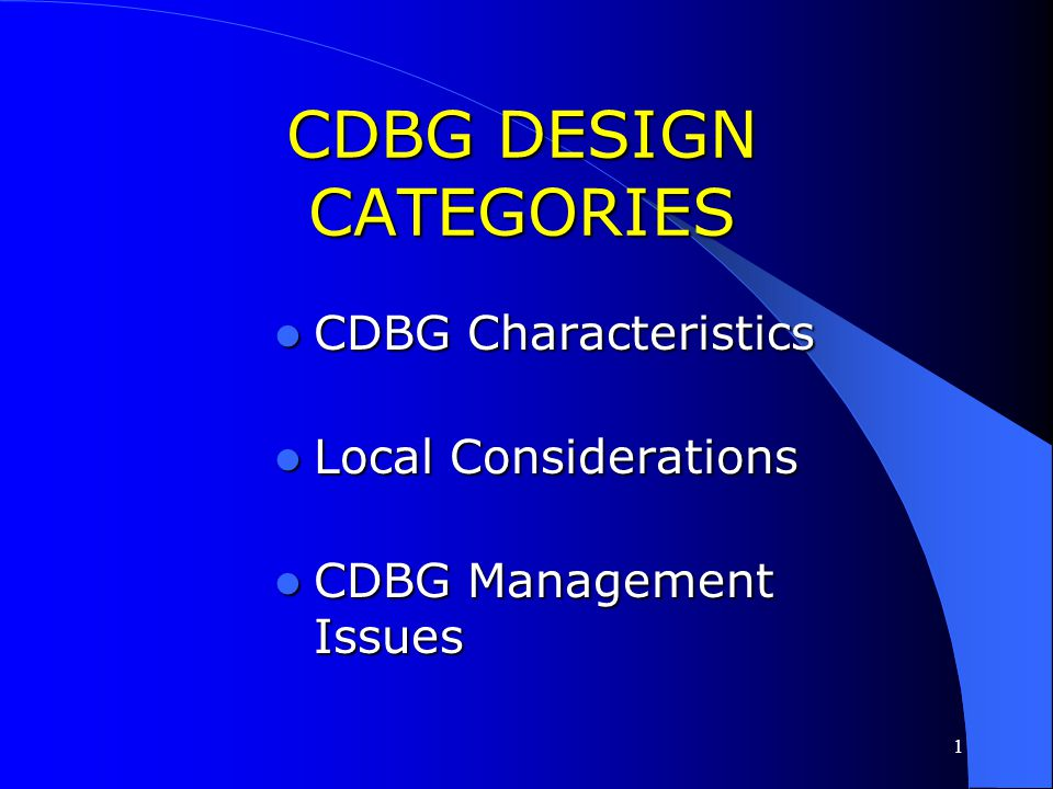 CDBG DESIGN CATEGORIES