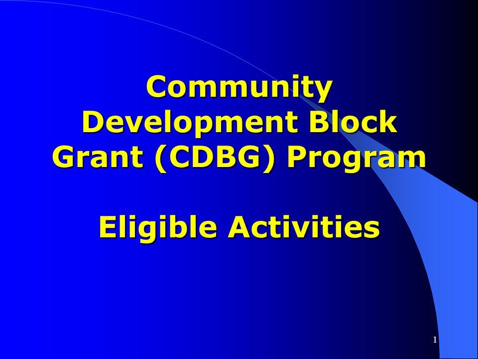 Community Development Block Grant (CDBG) Program Eligible Activities