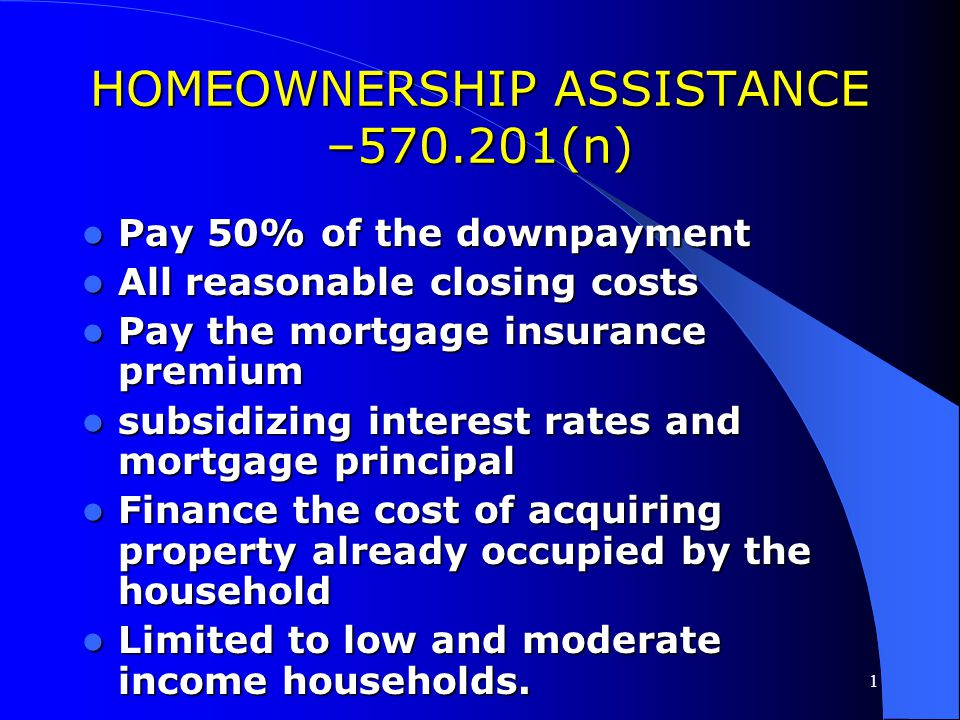 HOMEOWNERSHIP ASSISTANCE –570.201(n)