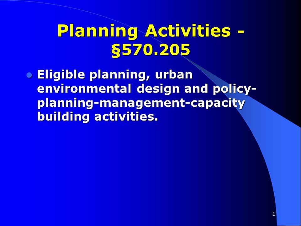 Planning Activities - §570.205