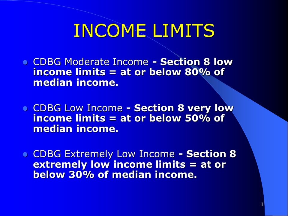 INCOME LIMITS CDBG Moderate Income - Section 8 low income limits = at or below 80% of median income.