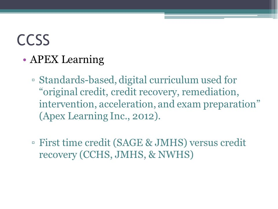 CCSS APEX Learning.
