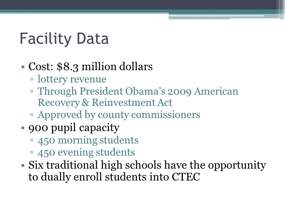 Facility Data Cost: $8.3 million dollars 900 pupil capacity