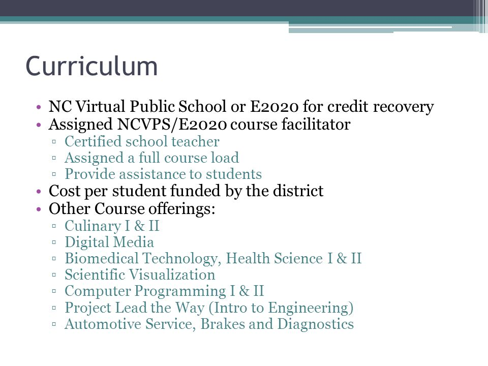 Curriculum NC Virtual Public School or E2020 for credit recovery
