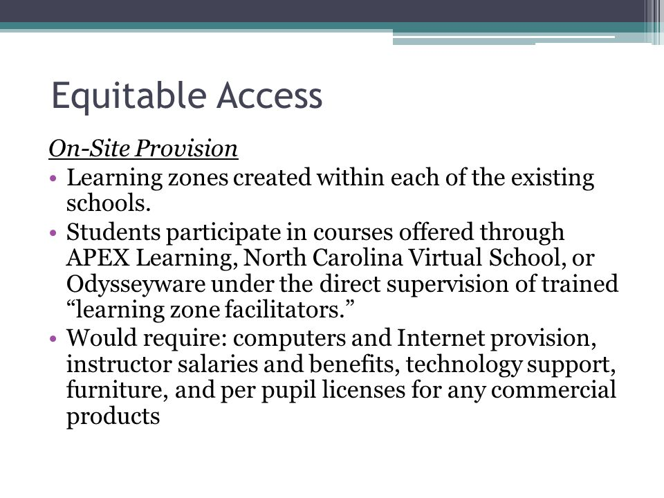 Equitable Access On-Site Provision