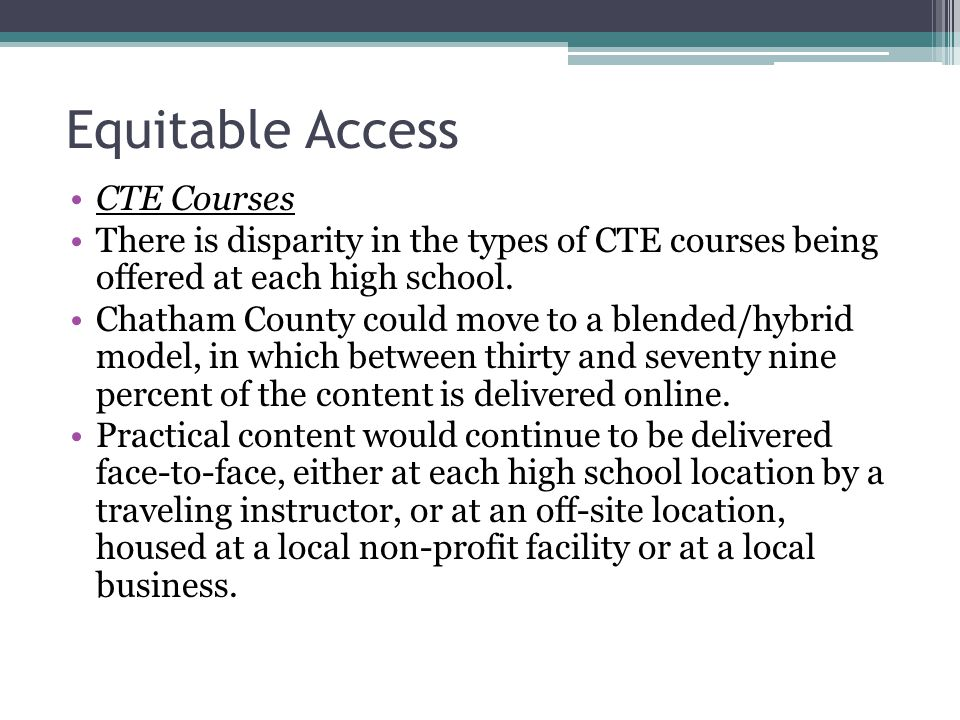 Equitable Access CTE Courses