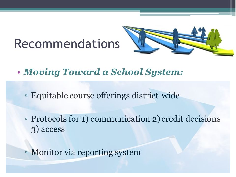Recommendations Moving Toward a School System: