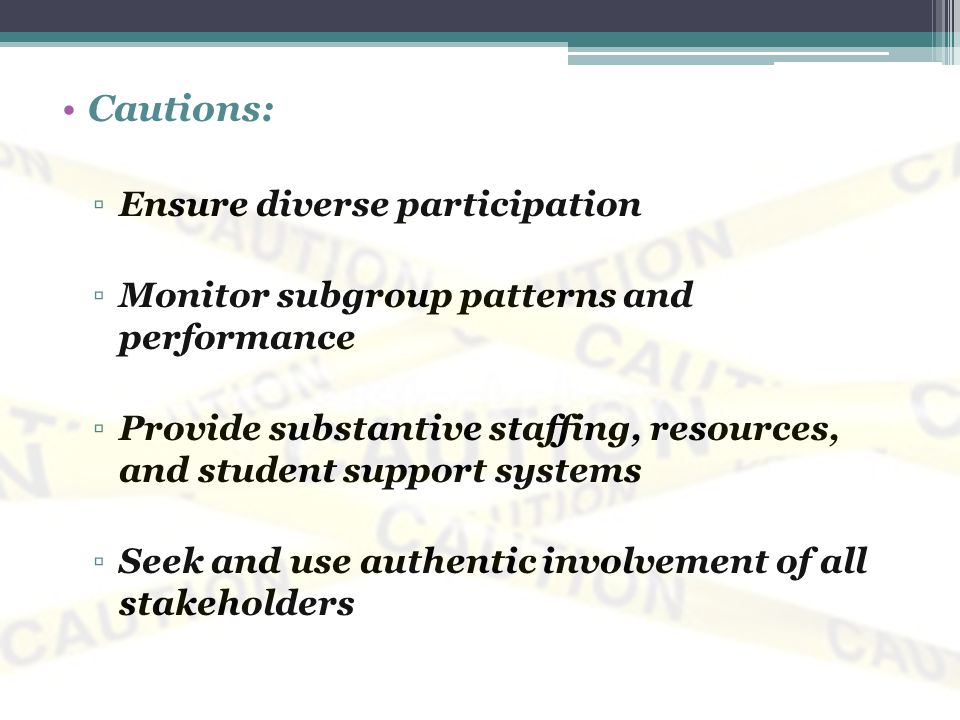 Cautions: Ensure diverse participation