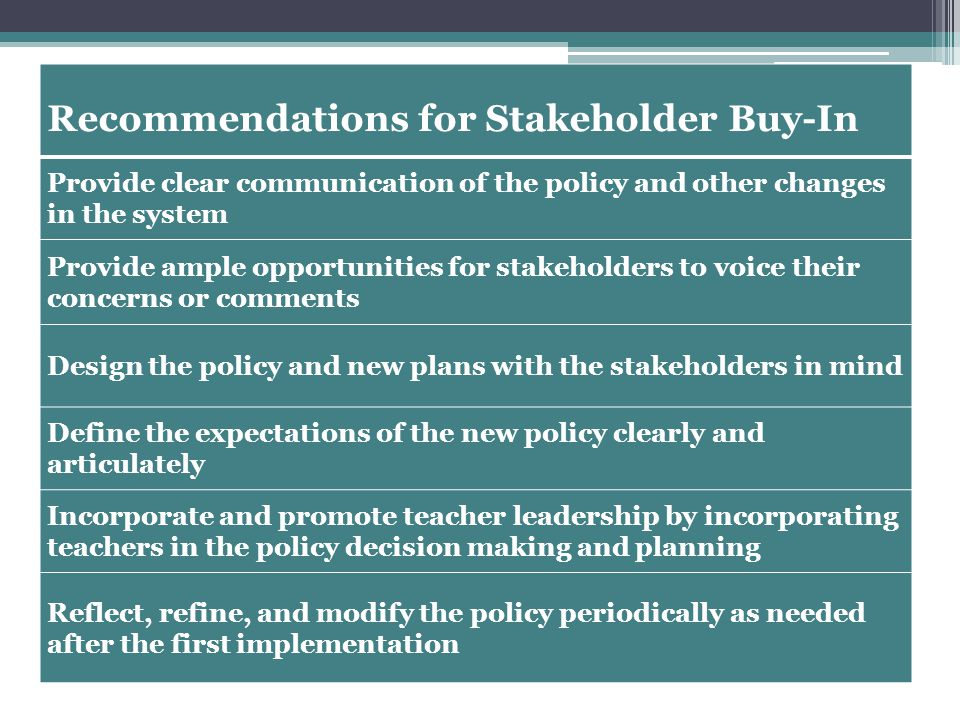 Recommendations for Stakeholder Buy-In