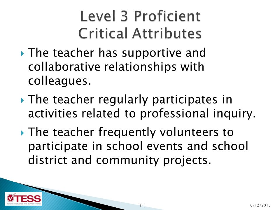 Level 3 Proficient Critical Attributes