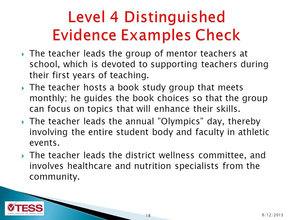 Level 4 Distinguished Evidence Examples Check