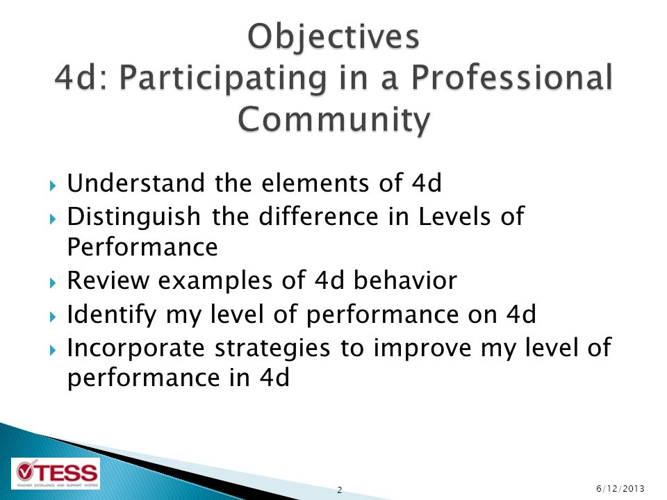 Objectives 4d: Participating in a Professional Community