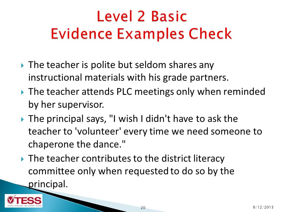 Level 2 Basic Evidence Examples Check