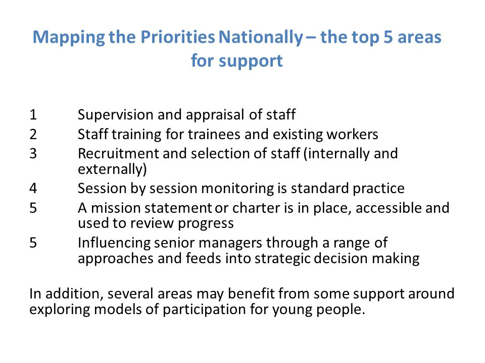 Mapping the Priorities Nationally – the top 5 areas for support