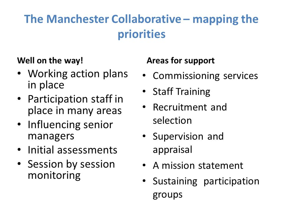 The Manchester Collaborative – mapping the priorities