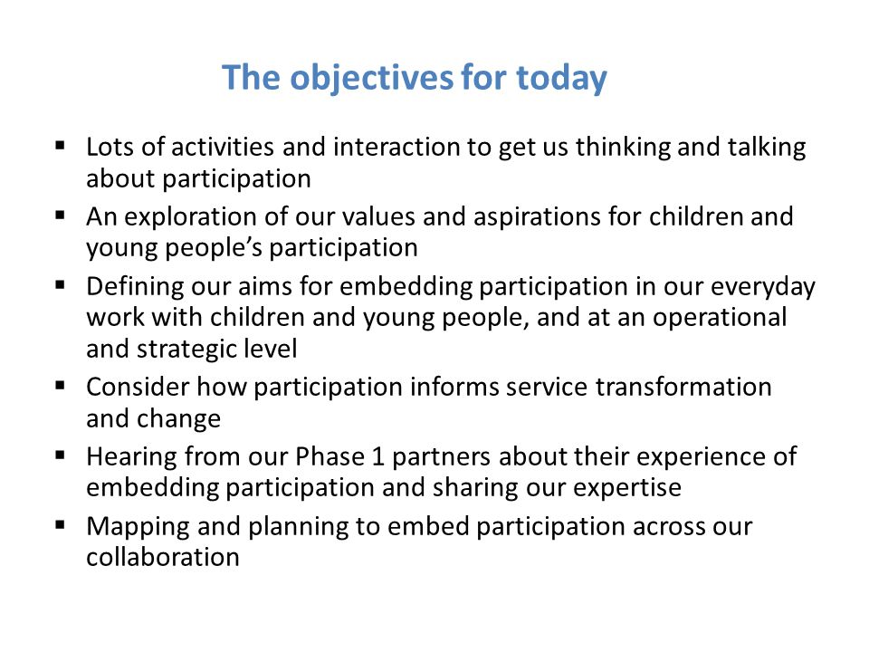 The objectives for today