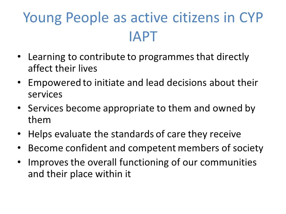 Young People as active citizens in CYP IAPT