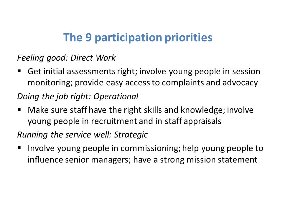 The 9 participation priorities