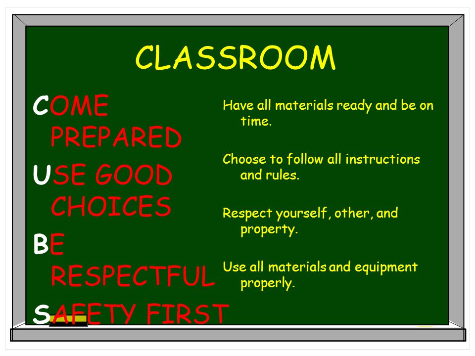 CLASSROOM COME PREPARED USE GOOD CHOICES BE RESPECTFUL SAFETY FIRST