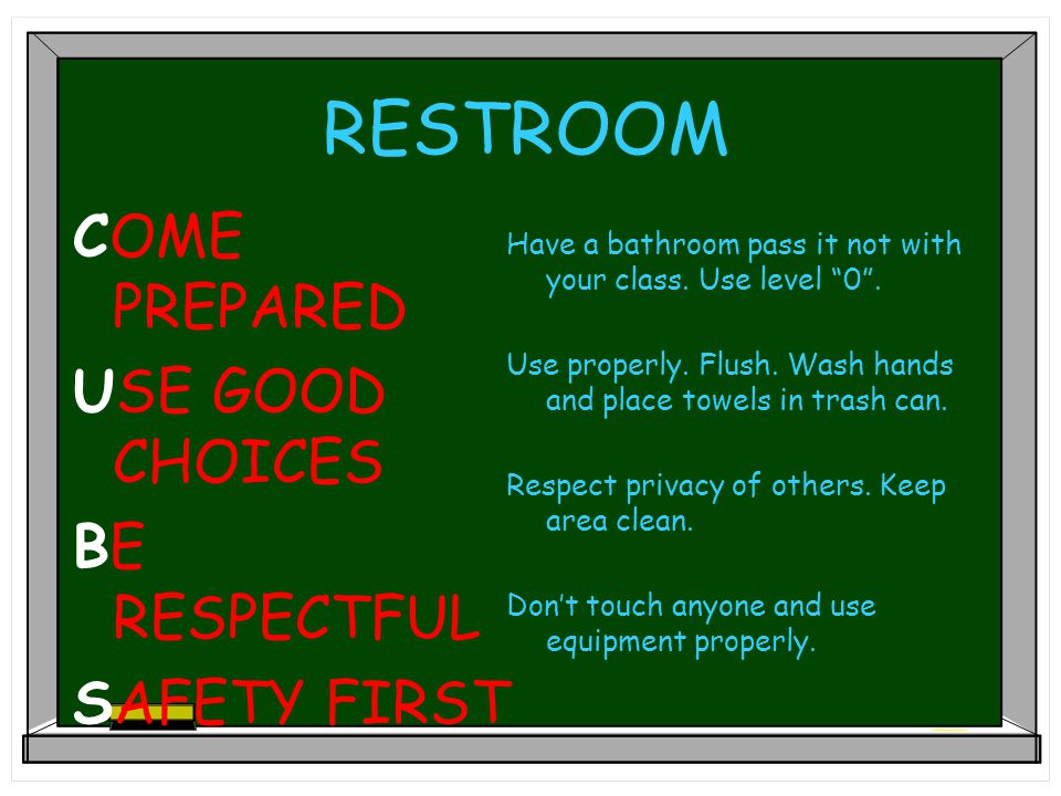 RESTROOM COME PREPARED USE GOOD CHOICES BE RESPECTFUL SAFETY FIRST