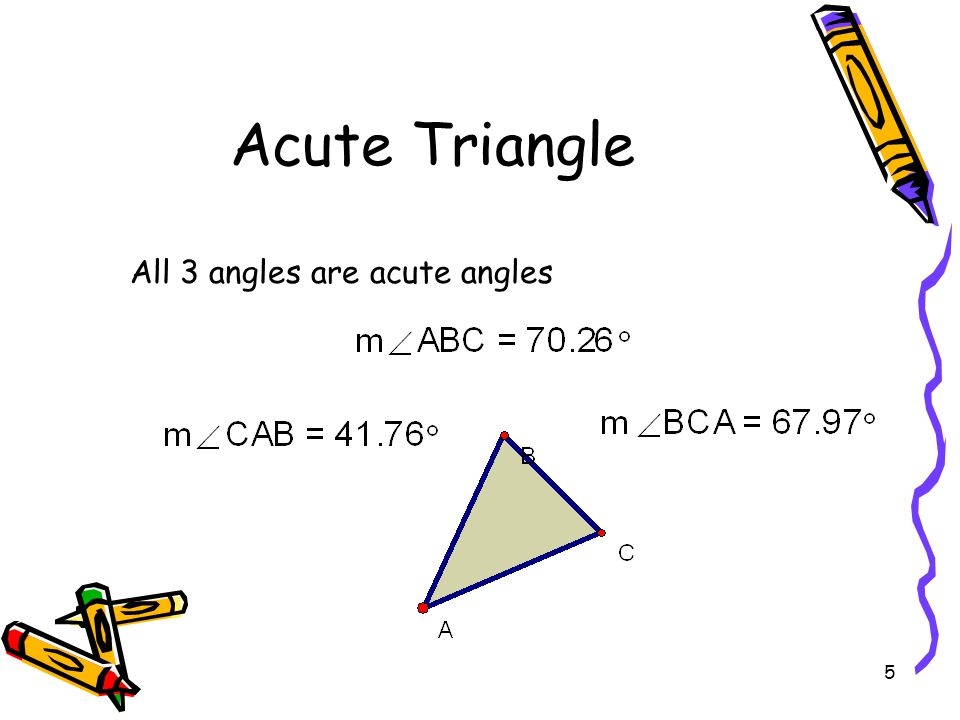 Acute Triangle All 3 angles are acute angles