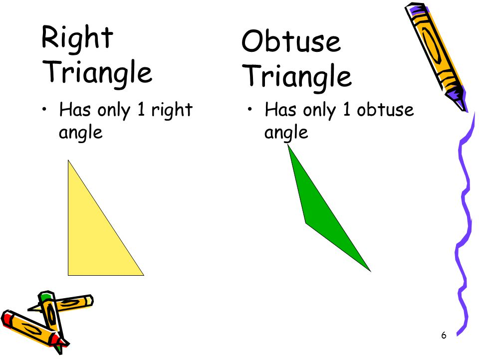 Right Triangle Obtuse Triangle Has only 1 right angle