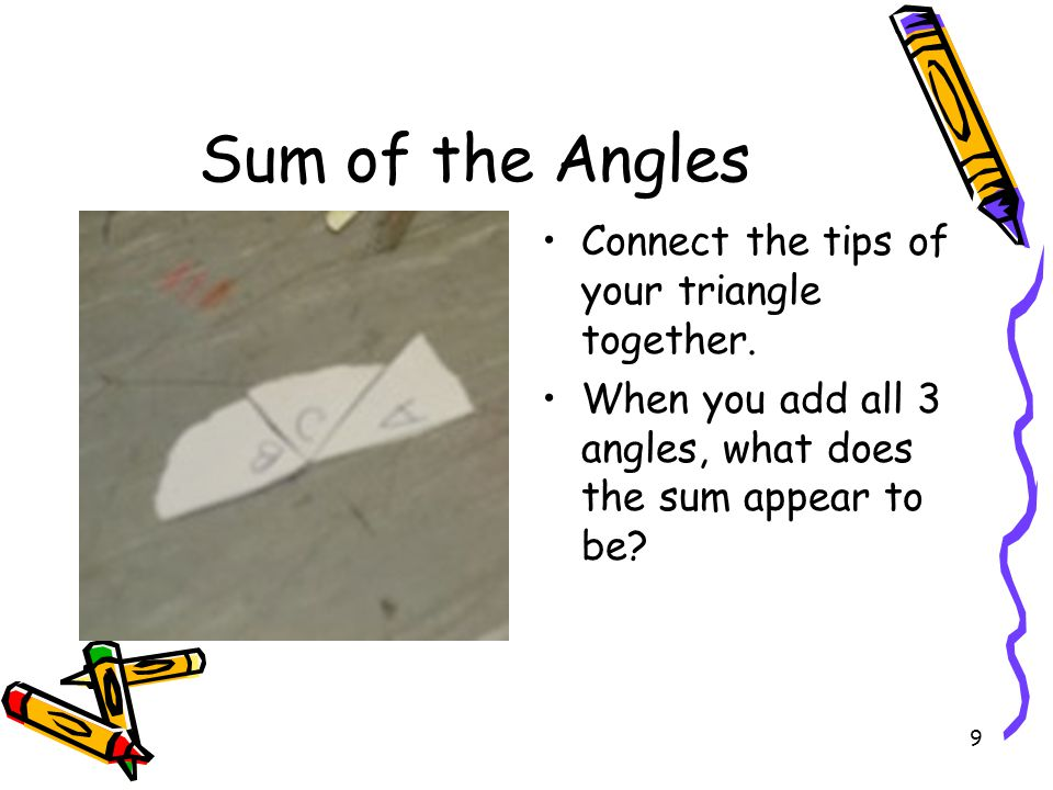 Sum of the Angles Connect the tips of your triangle together.