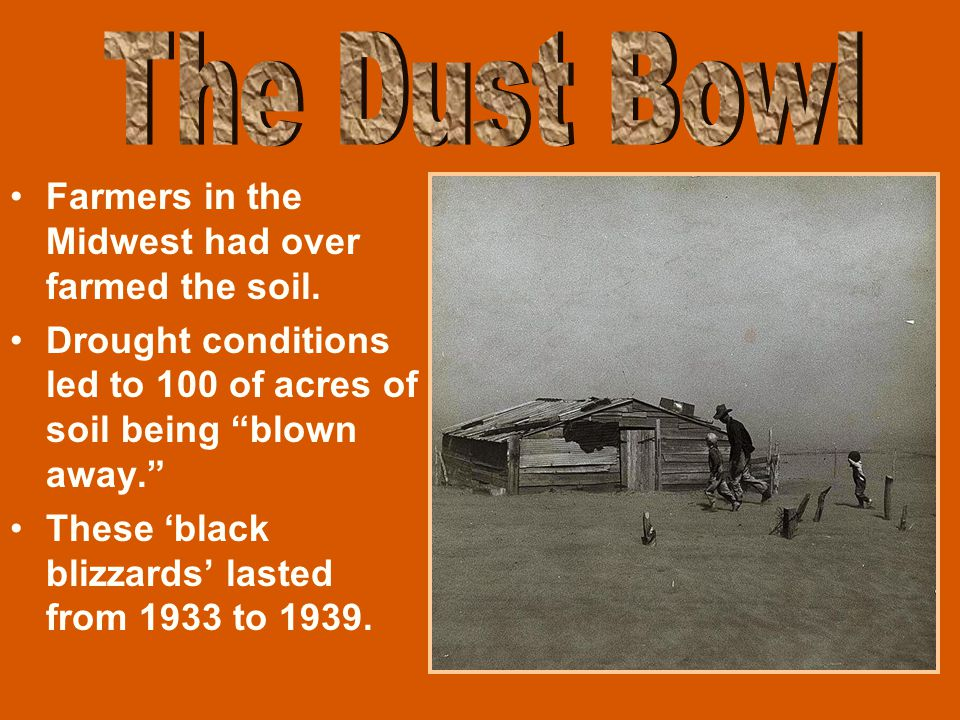 The Dust Bowl Farmers in the Midwest had over farmed the soil.