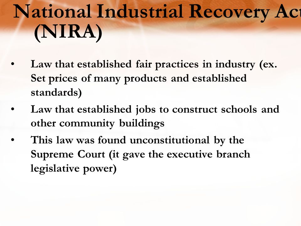 National Industrial Recovery Act (NIRA)