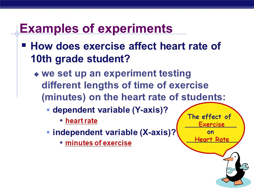Examples of experiments