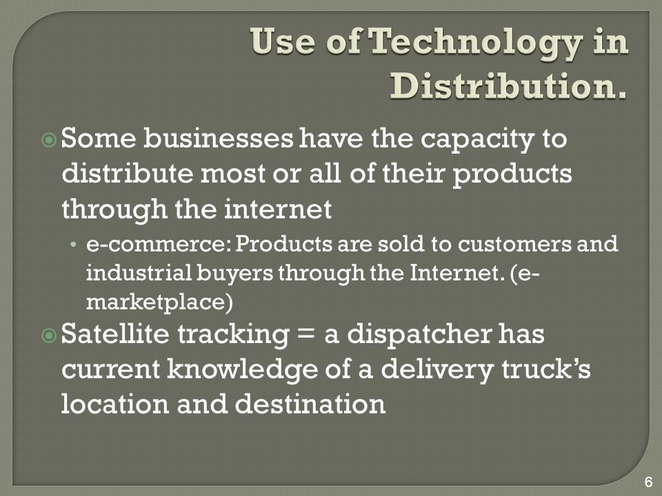 Use of Technology in Distribution.