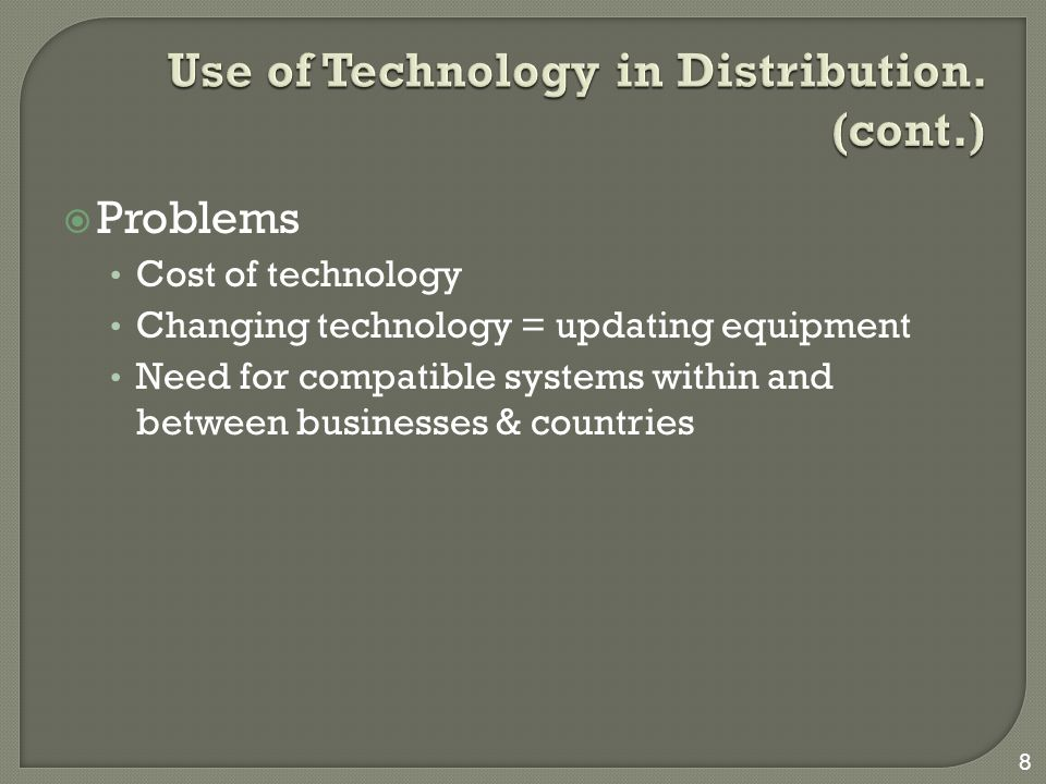 Use of Technology in Distribution. (cont.)