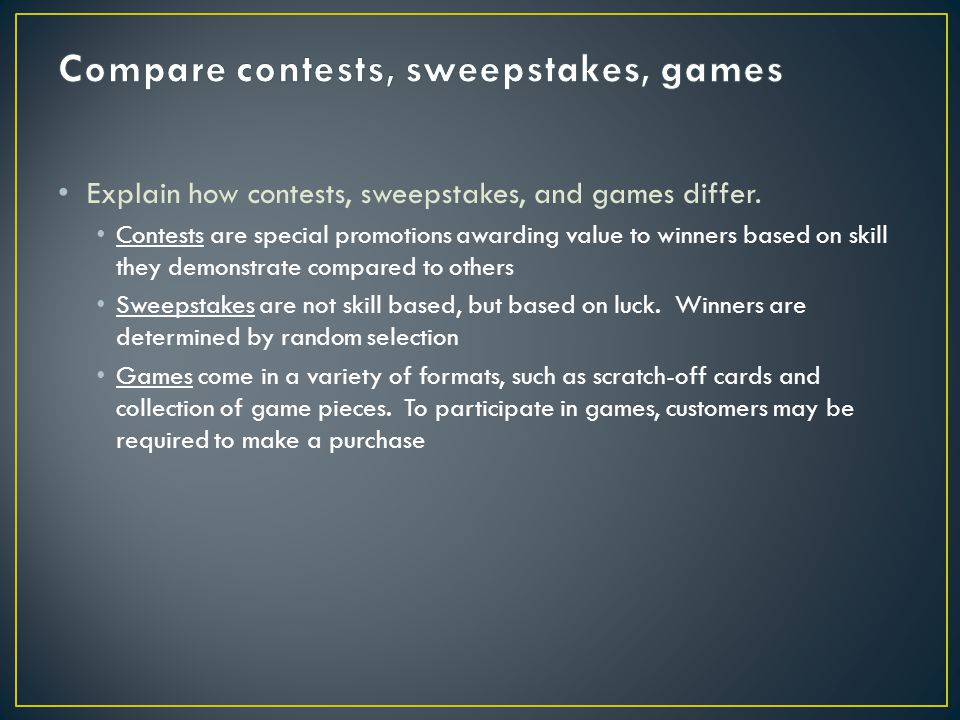 Compare contests, sweepstakes, games
