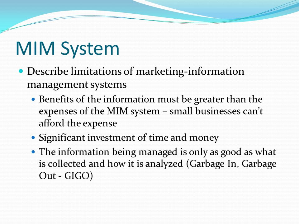 MIM System Describe limitations of marketing-information management systems.