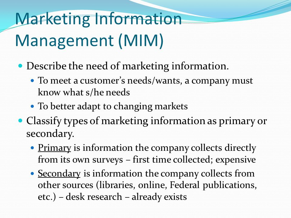 Marketing Information Management (MIM)