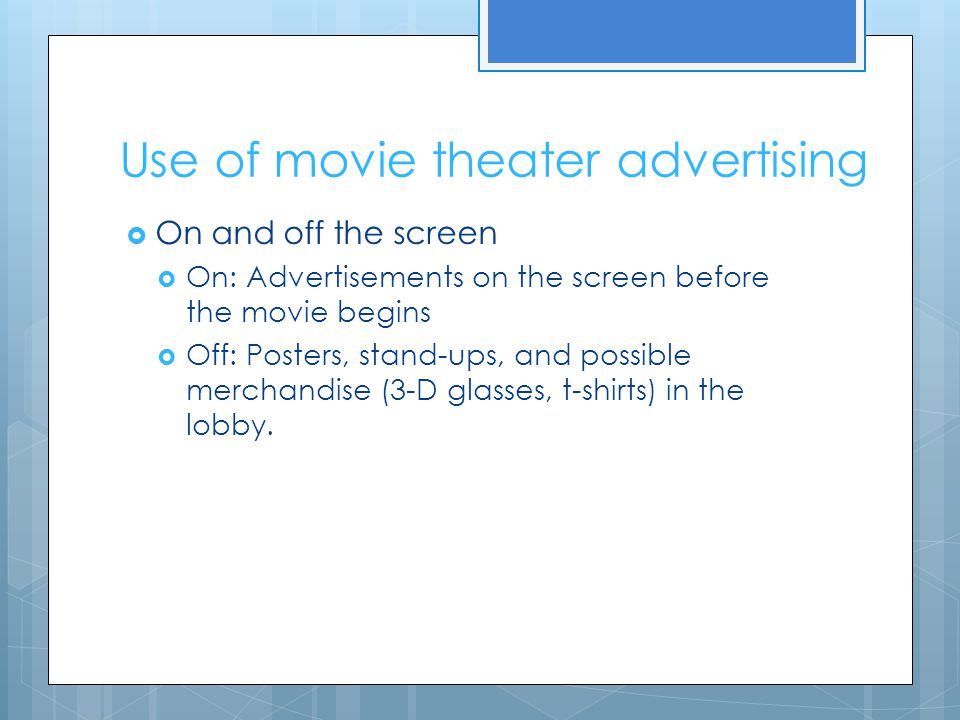 Use of movie theater advertising