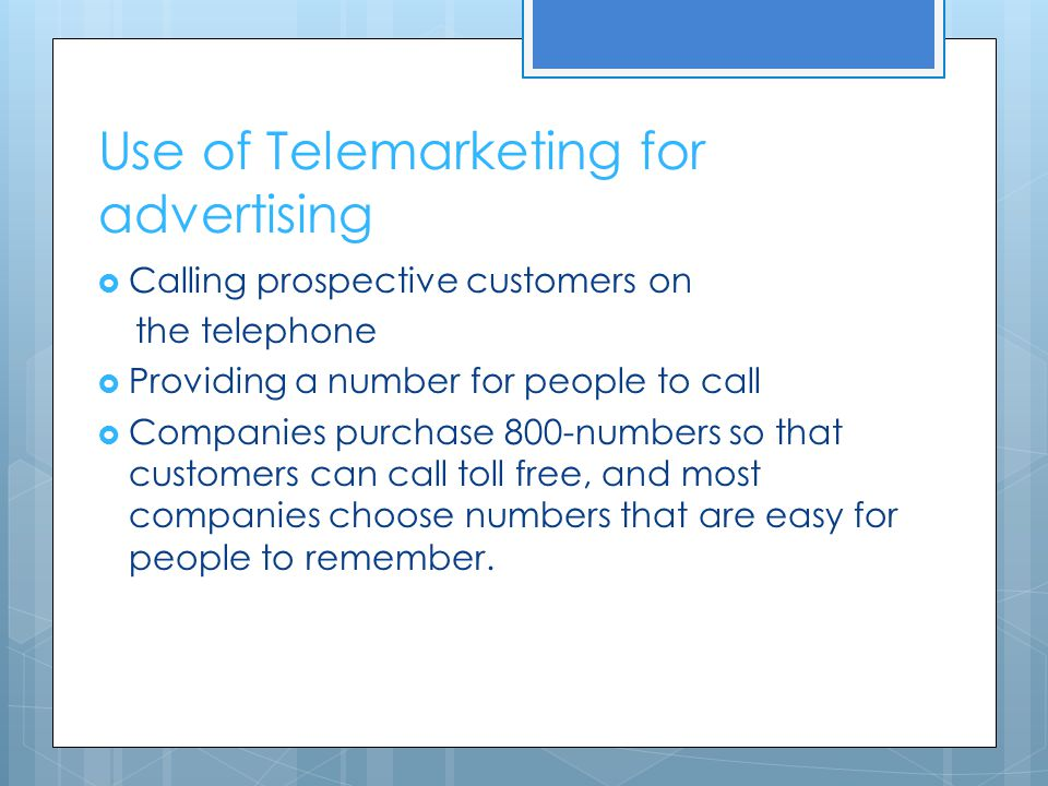 Use of Telemarketing for advertising