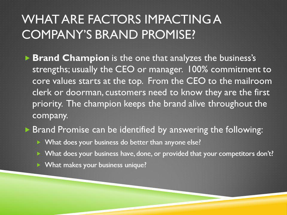 What are factors impacting a company's Brand Promise
