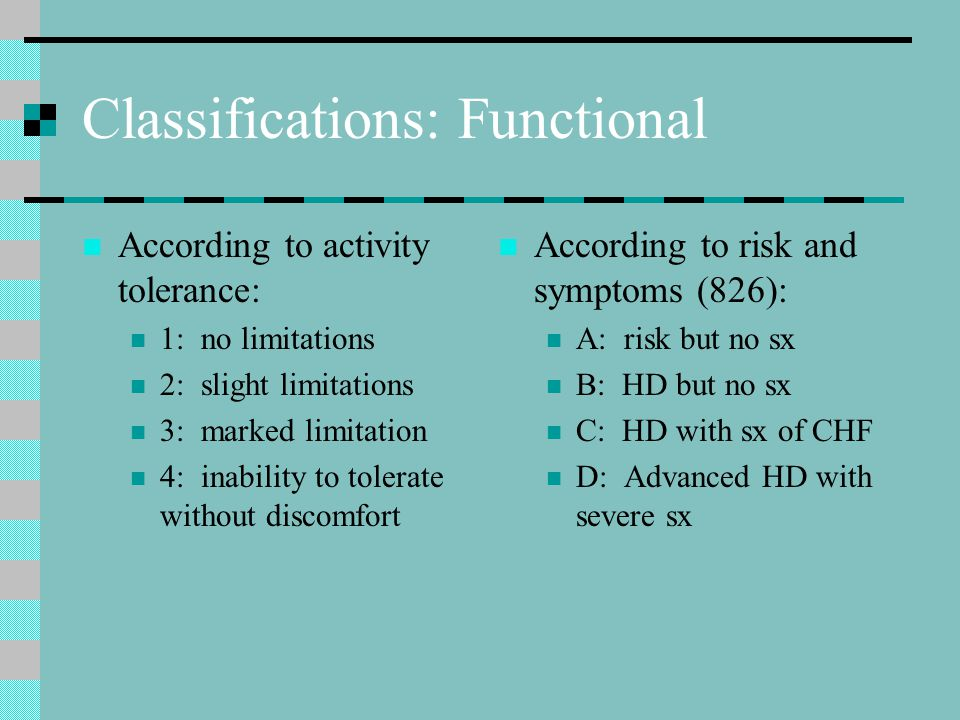 Classifications: Functional