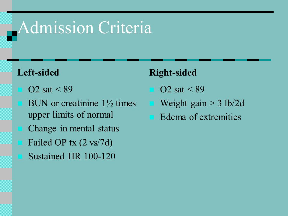 Admission Criteria Left-sided Right-sided O2 sat < 89