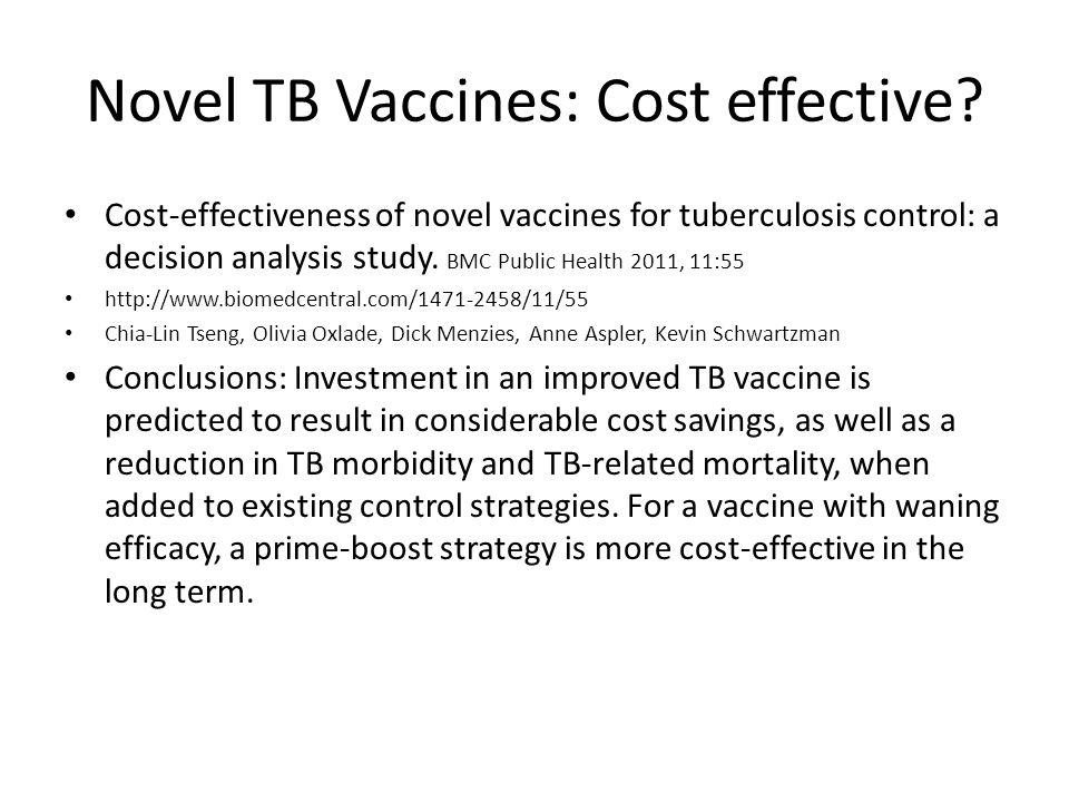 Novel TB Vaccines: Cost effective