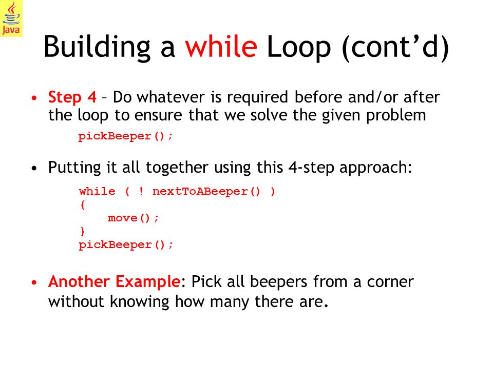 Building a while Loop (cont'd)