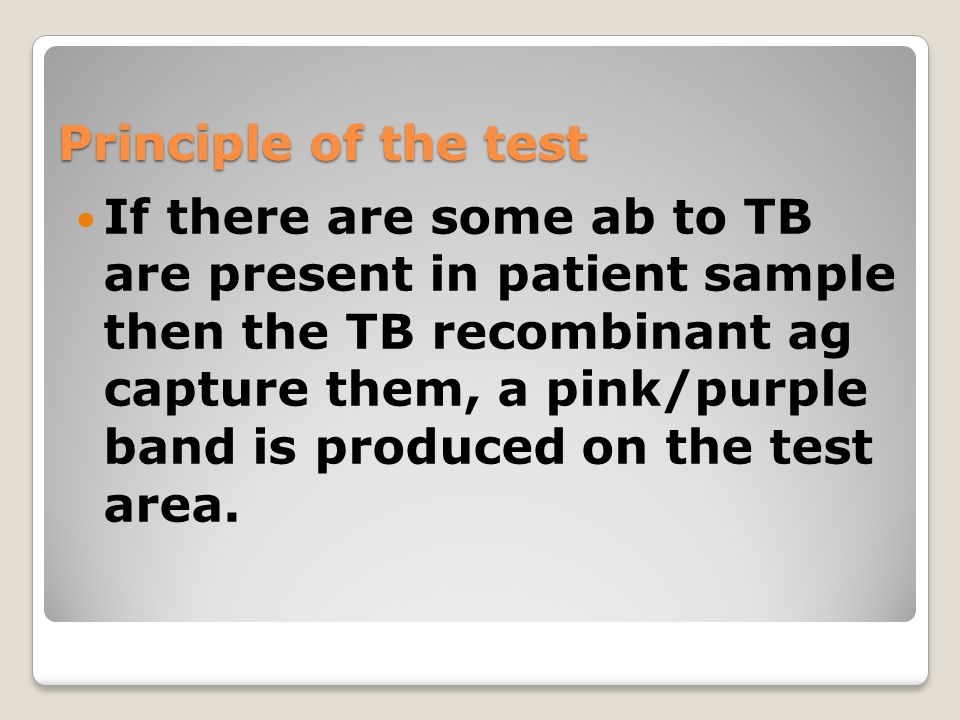 Principle of the test