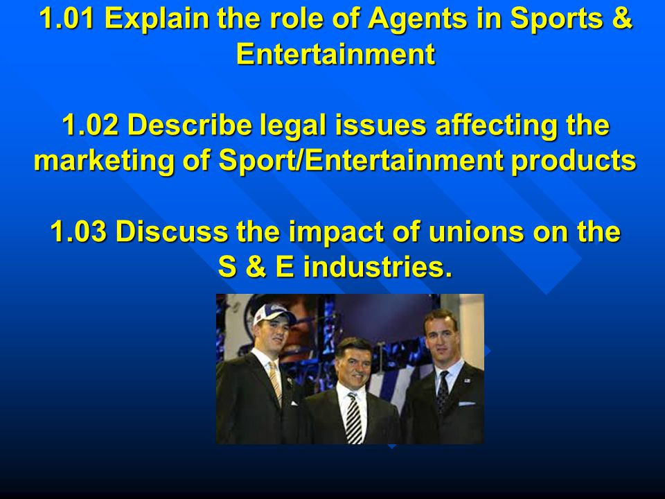 1. 01 Explain the role of Agents in Sports & Entertainment 1