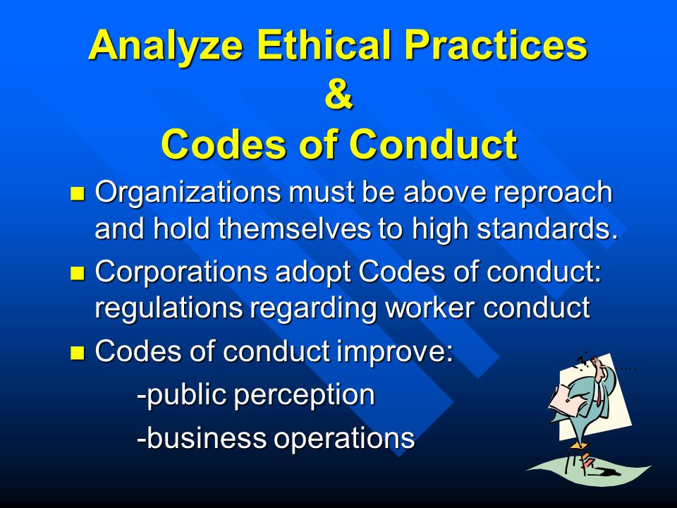 Analyze Ethical Practices & Codes of Conduct