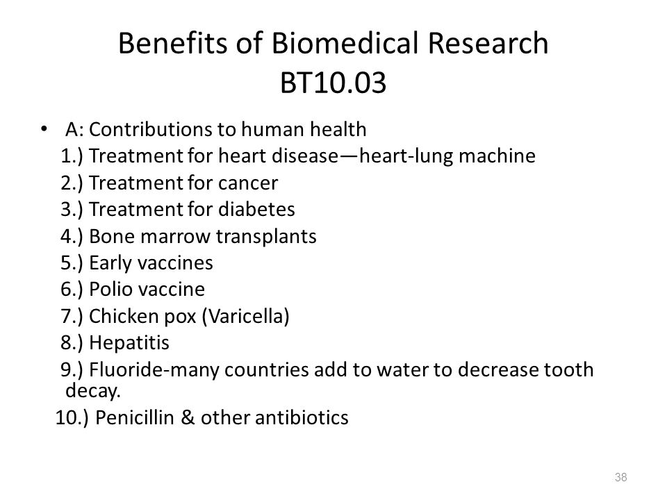 Benefits of Biomedical Research BT10.03