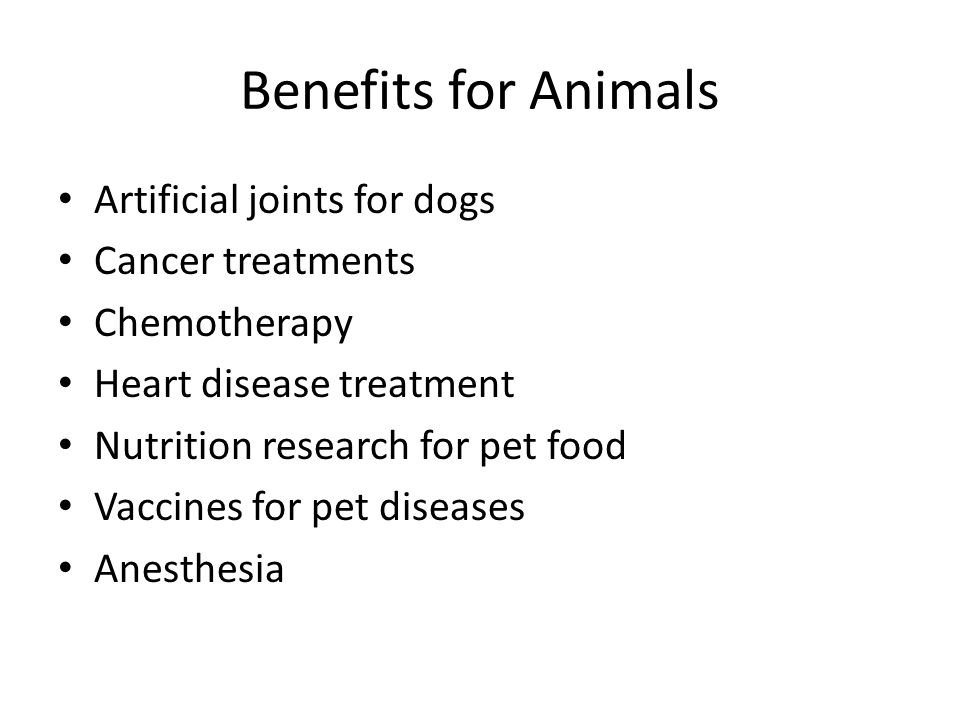 Benefits for Animals Artificial joints for dogs Cancer treatments