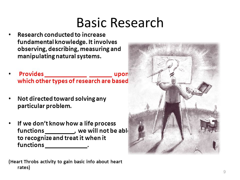 Basic Research Research conducted to increase fundamental knowledge. It involves observing, describing, measuring and manipulating natural systems.